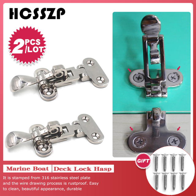 2 pcs Marine Boat Deck Lock Buckle 316 Stainless Steel Lockable Hold Down Clamp Anti Rattle Latch Fastener Boat Yacht Accessory