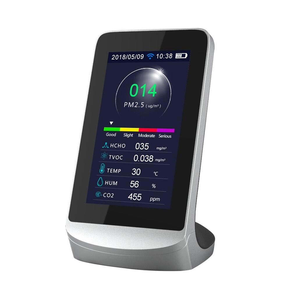 Анализатор качества воздуха с Wi-Fi, детектор формальдегида для подключения к телефону, измеритель TVOC CO2 PM2.5, комнатный тестер с датчиком загря...