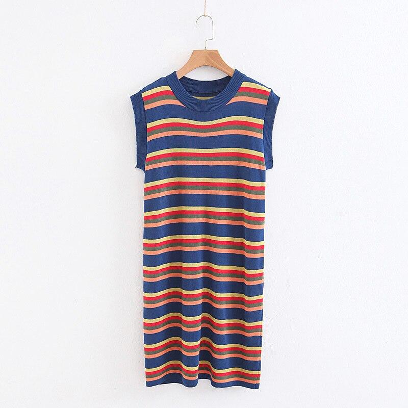 2018 Spring And Summer Article Rainbow Fashion Sleeveless Viscose Mid-length Skirt Dress 8778