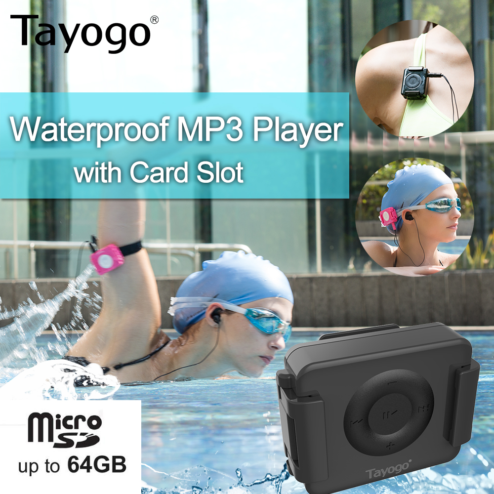 Tayogo IPX8 Waterproof Swimming Mp3 Player Headset Music Player With Card Slot With Shuffle Feature With Earphone For Swiming
