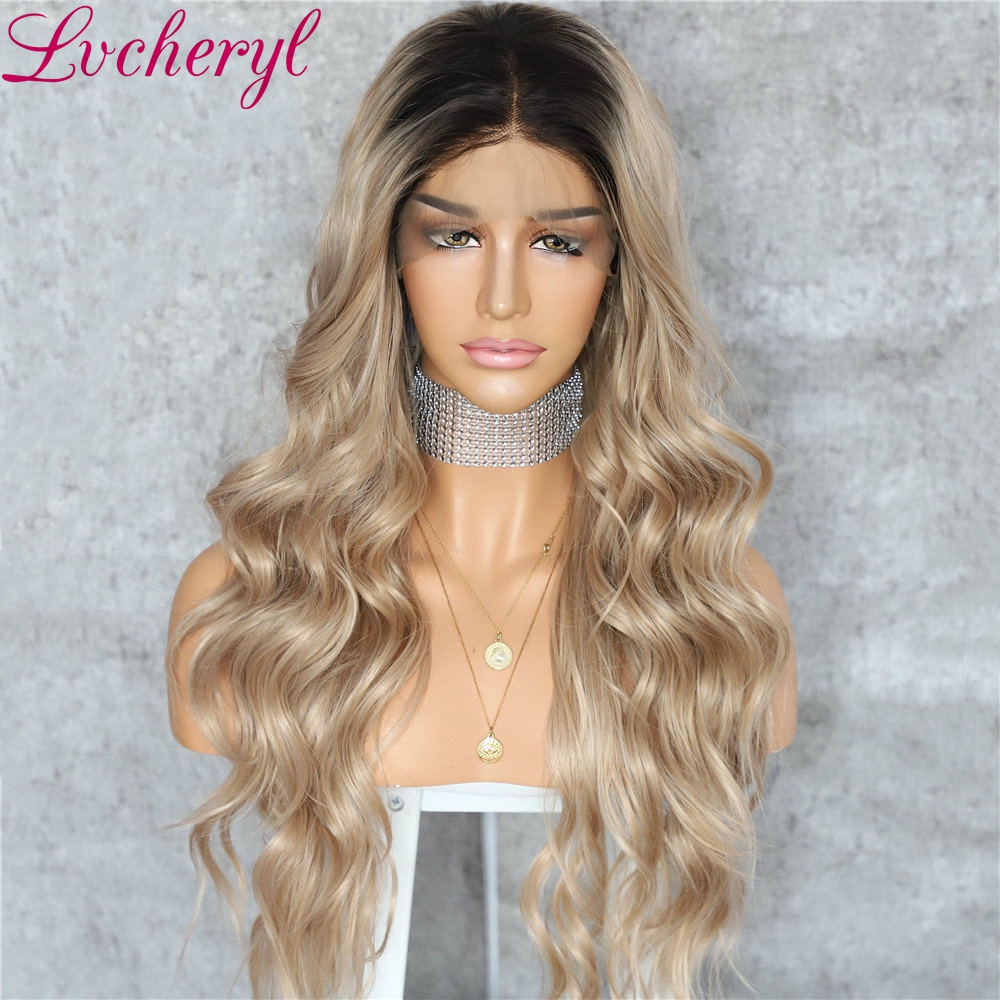 Lvcheryl Long 13X3 Synthetic Front Lace Wigs Dark Roots Ombre Brown Natural Wave Heat Resistant Hair Wigs For Women