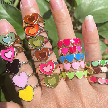 HangZhi 2021 New Heart Love Colorful Enamel Oil Dripping Metal Ring for Girls Women Jewelry Sweet Romantic Dating Party Jewelry 1