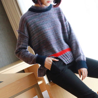 Autumn and winter thick pullover short paragraph female rainbow stripes loose knit shirt 2019 new Korean Women