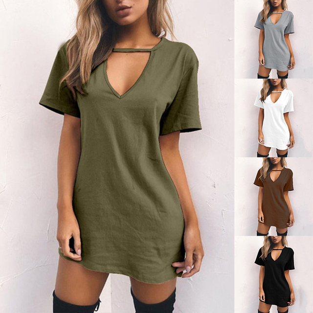 Summer Women Sexy Tshirt DressFemale Choker V Neck Dresses Girls Mini T-Shirt Dress Short Sleeve LadiesClothing Dropshipping 2