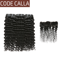 Code Calla Brazilian Deep Wave Bundles With Ear to Ear Frontal Salon 100% Unprocessed Raw Virgin Human Hair Weave Extensions