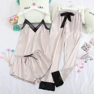 Image 1 - 月の歌3ピース女性パジャマセットステインシルクセクシーなパジャマショーツ女性トップと長ズボンストラップスリング夏pajamyスーツ