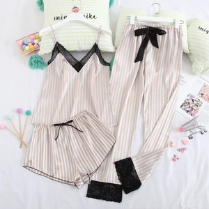 Image 1 - July's Song 3 Piece Woman Pajamas Set Stain Silk Sexy Sleepwear Shorts Female Top And Long Pants Strap Sling Summer Pajamy Suit