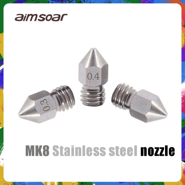 Dysza mk8 części drukarki 3d ze stali nierdzewnej 0.2mm 0.3mm 0.4mm 0.5mm dysza 3d do filamentu 1.75mm