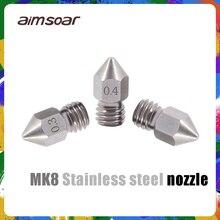 Mk8 فوهة الفولاذ المقاوم للصدأ 3d طابعة أجزاء 0.2 مللي متر 0.3 مللي متر 0.4 مللي متر 0.5 مللي متر 3d فوهة ل 1.75 مللي متر خيوط