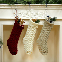 Christmas Knit Stockings Bag Xmas Fireplace Hanging Ornaments Candy Gifts Bags Home Festival Party Decoration Kids Gift Supplies