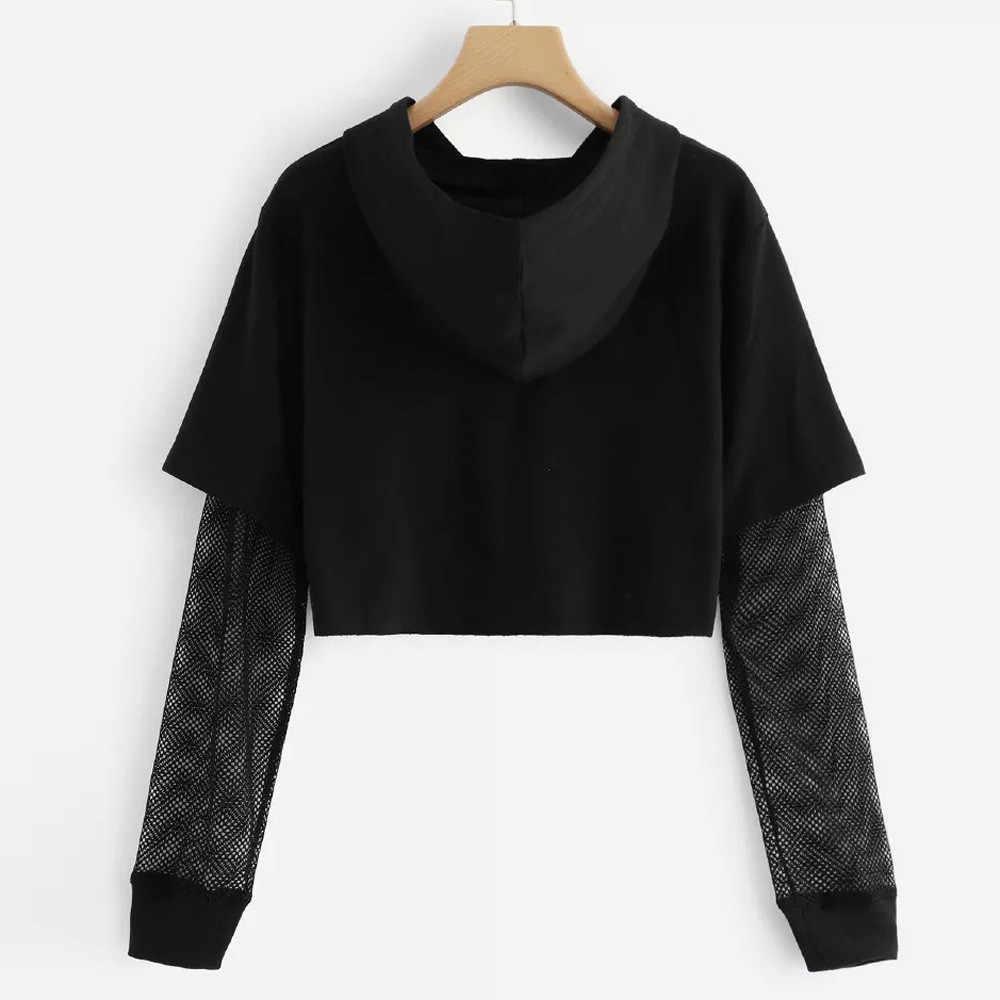 Black Women 자르기 탑 글자 메쉬 긴 소매 까마귀 스웨터 여성 풀오버 탑 스웻 셔츠 캐주얼 까마귀 sudadera mujer NEW