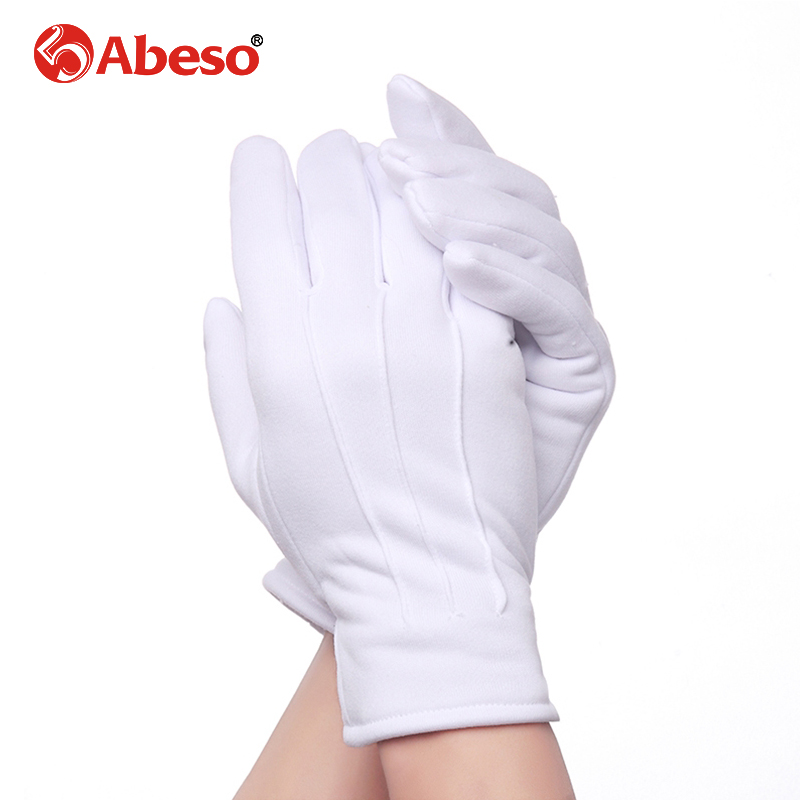 Abeso 10 Pair Plus Cashmere Thick Elastic Large White Gloves White Color Etiquette Gloves Driving Gloves A1008