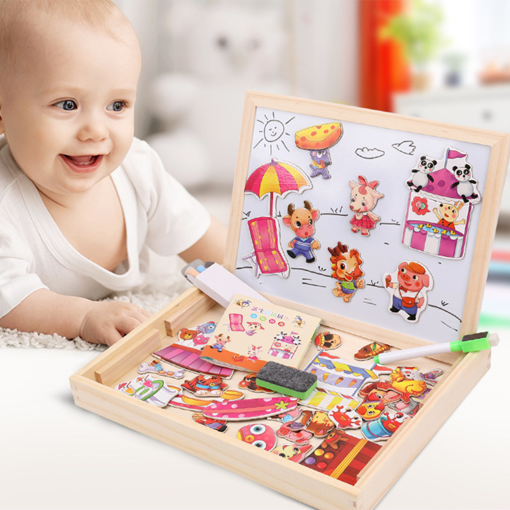 Children Wooden Puzzles Animal Traffic Forest Tangram Toys Multifunctional Magnetic Drawing Board Baby Puzzle Educational Gift