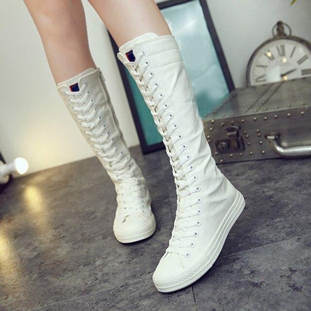 Sexy schlanke Schuhe für Frauen 2020 flache Plattform Frau Mid Calf Stiefel Plus Size Reißverschluss Schnürung Leinwand High Top weibliche weiße Schuhe