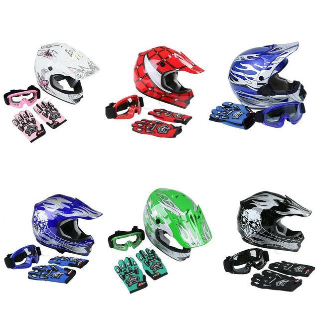 DOT Motorcycle Children Youth Kids Helmet Dirt Bike ATV Motocross Helmets S M L XL Goggles Gloves