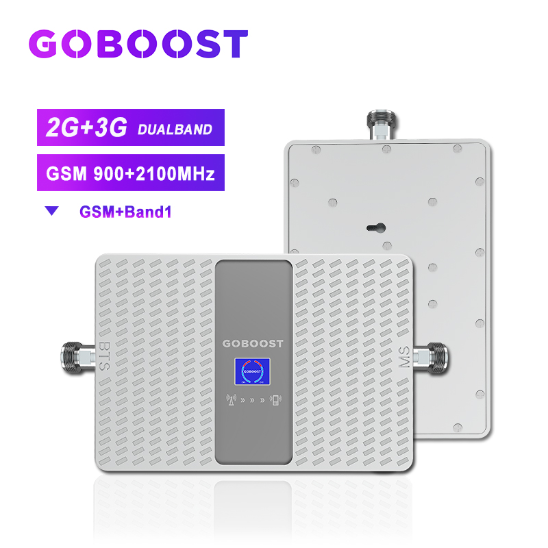 3G Signal Amplifier GSM Repeater Cellular Signal Booster 2G GSM 900 UMTS 2100 3G Repeater Band1 WCDMA For Cell Phones 70dB Dual