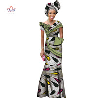 Summer Bazin Riche African Wax Print free headtie Dresses Dashiki Plus Size 6XL Africa Style Clothing for Women WY5017