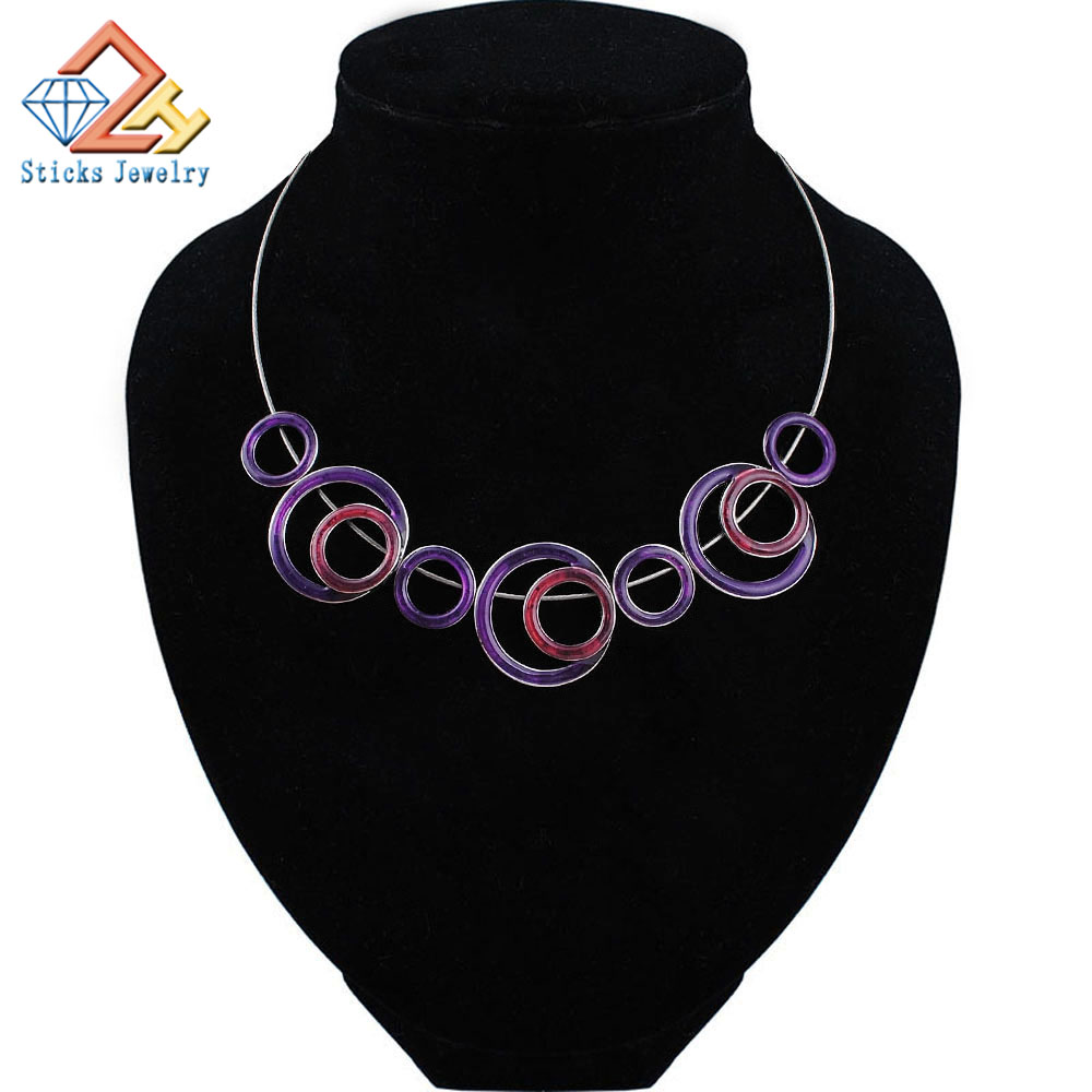 Sticks Jewelry Charm Vintage Trendy Necklace Geometric Double Color Enamel Activity Accessories Rope Fashion Necklace for Women in Choker Necklaces from Jewelry Accessories