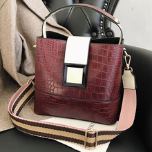 Mododiino Crocodile Bucket Bag Crossbody For Women Panelled Shoulder PU Leather Messenger Handbag Purses DNV1228