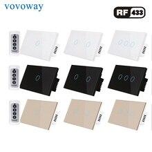 Interruptor táctil inalámbrico RF RF433MHz, control remoto, AC110V, 220V, 1gang2gang3gang, interruptor de luz estándar de EE. UU.