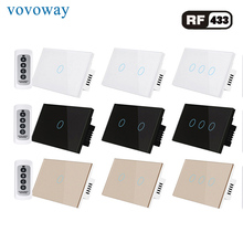 RF wireless touch switch interrupter RF433MHz remote control AC110V 220V 1gang2gang3gang US standard light switch
