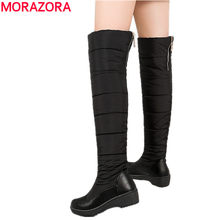 MORAZORA BIG SIZE 35-44 Warm down snow boots women plush zipper over the knee high boots black blue ladies cotton winter boots(China)