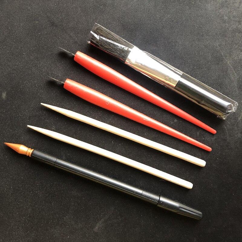 6PC Creative DIY Scratch Painting Tools Professional Drawing Tools 2Sticks+2Scrapers+1Pen+1Brush