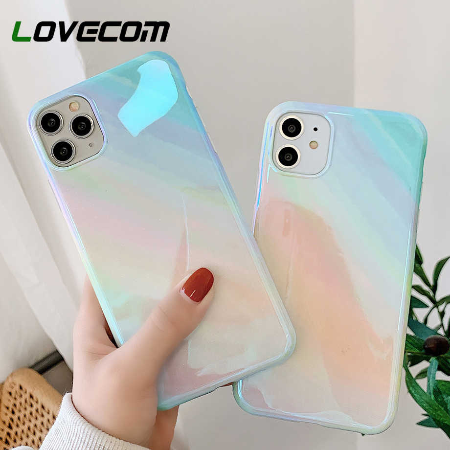 LOVECOM Blu-Ray Glitter สำหรับ iPhone 11 PRO MAX XR XS MAX 7 8 PLUS X Soft IMD Glossy สำหรับ iPhone 11 กรณีของขวัญ