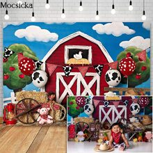 Mocsicka Farm Cake Smash Fotografie Achtergronden Rode Schuur Animal Decor Chirldren 1st Verjaardag Foto Props Studio Booth Achtergrond