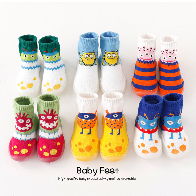 Toddler Indoor Sock Shoes Newborn Baby Socks Winter Thick Terry Cotton Baby Girl Sock With Rubber Soles Monster Planet Sock
