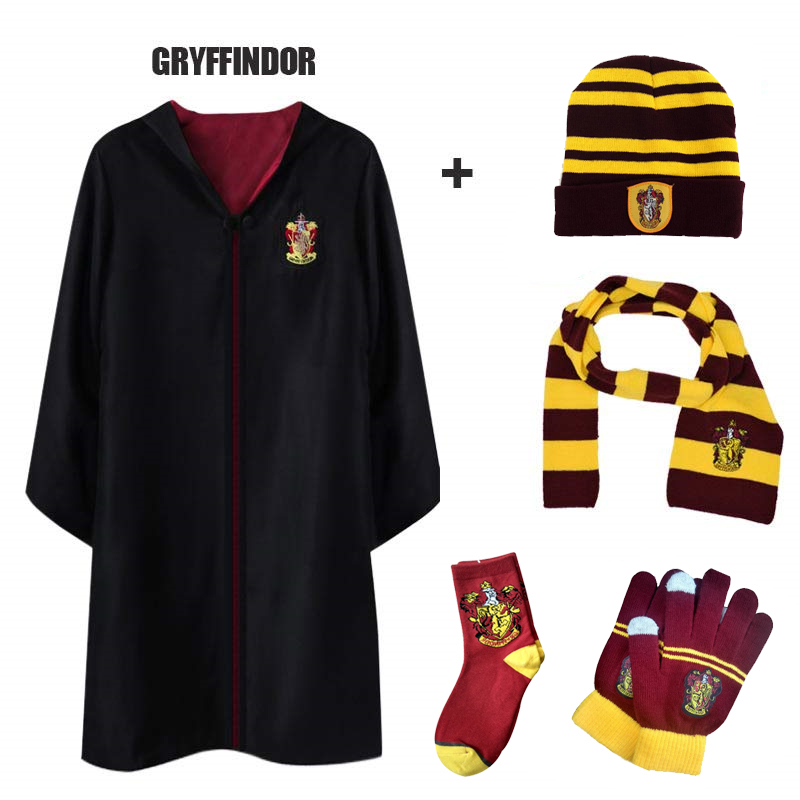 Adult Kids Cap Version Gryffindor Costume Hat Uniform Hermione Halloween Gloves Potter Party Robe Suit Granger Cosplay