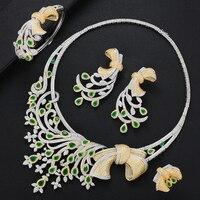LARRAURI Brand 2020 Luxury Flower African Cubic Zircon CZ Nigerian Jewelry sets For Women Wedding Indian Bridal Jewelry Sets
