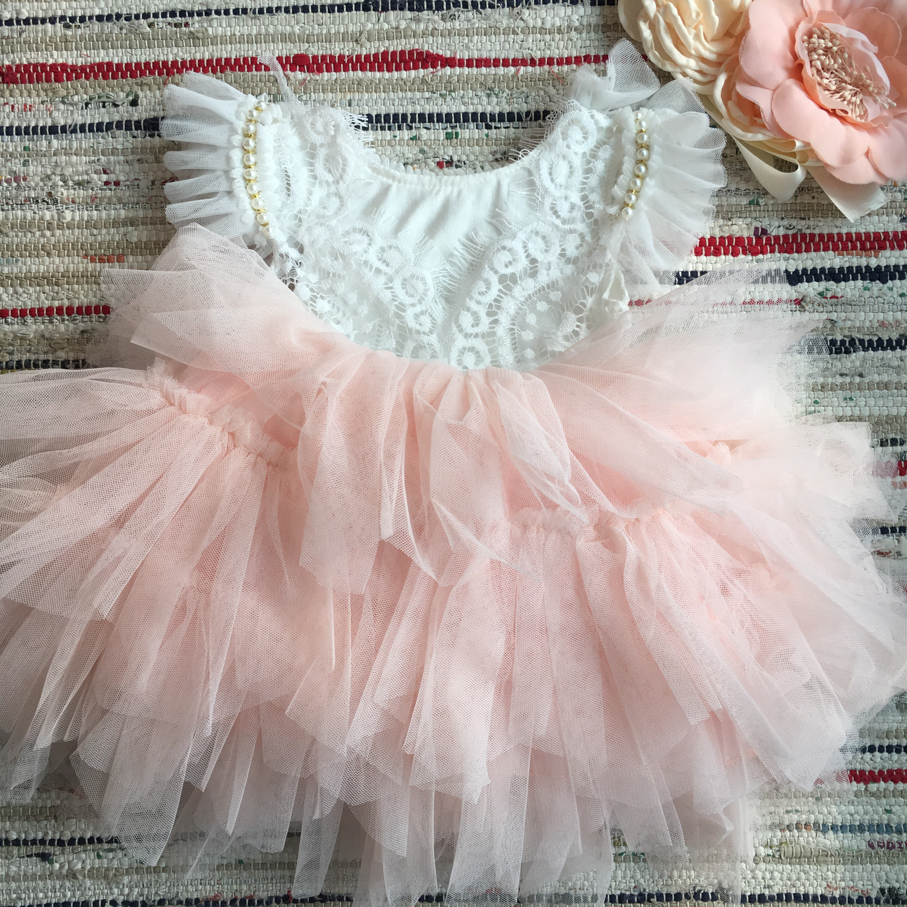 Beautiful flower girls wedding dress children party tutu gown for kids children flowers sashes princess sling summer dress 5