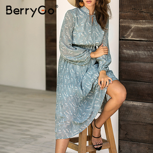 Image 4 - BerryGo Elegant floral print dress women Spring summer long sleeve dress female Tie neck pleated holiday long dress vestidos