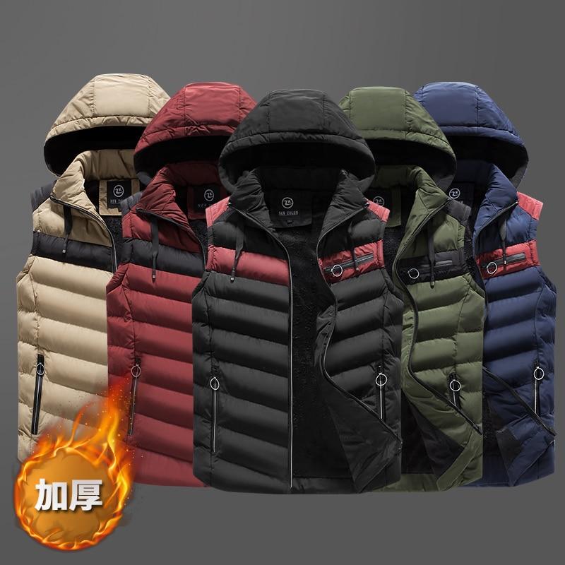 2018 New Winter Sleeveless Jacket For Men Plus Velvet Thickening Fashion Hooded Male Winter Vest Mens Work Warm Waistcoat