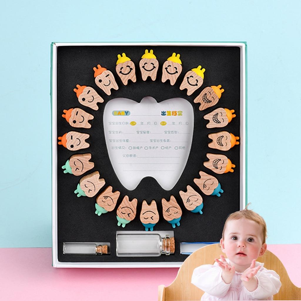 Zahn Geformt Holz Baby Laub Zahn Halter Milch Zähne Erste Zähne Andenken Veranstalter Schoner Boxen Kind Speicher Geschenk