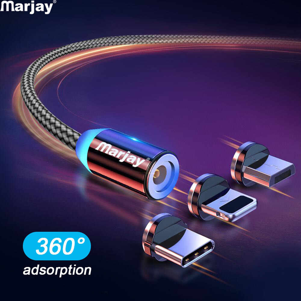 Marjay Magnetic Micro USB Cable for Xiaomi Redmi Huawei Fast Charge Type C Cable for Samsung Magnet Charger USB Cord for iPhone8