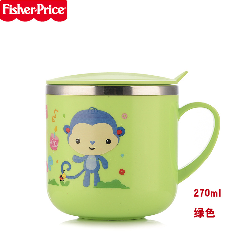 FISHER-PRICE CHILDREN'S Cups Stainless Steel With Cover Tableware Shatter-resistant Mickey Young Infant Cup Milk Cup Baby Cup