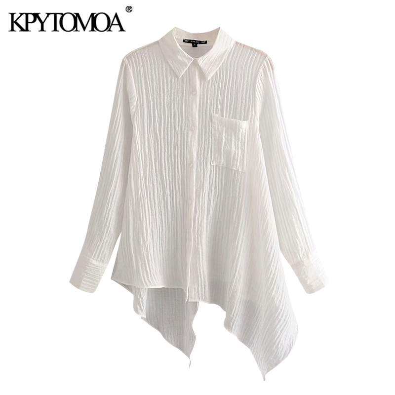 KPYTOMOA Women 2020 Fashion Asymmetric Texture Blouses Vintage Lapel Collar Long Sleeve Pockets Female Shirts Blusas Chic Tops