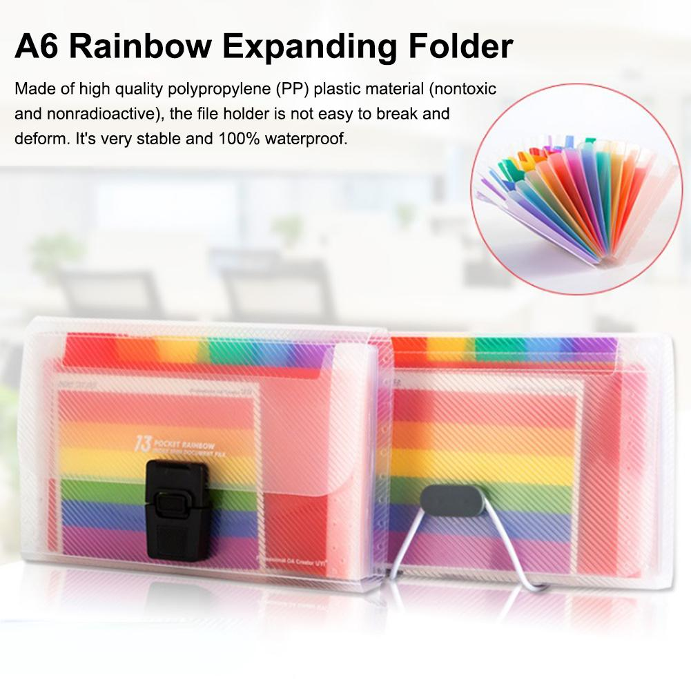 A6 File Folder, 13 Pockets Rainbow Expanding Folder Mini Index   Accordion Folder Organizer For Files Documents Cards Certificat