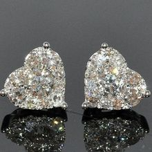 Fashion Heart Cubic Zircon Stud Earrings Crystal Exquisite White Gold Filled Bridal Engagement Wedding Jewelry