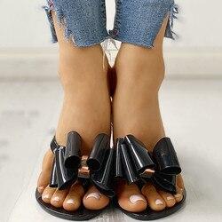 Sommer Böhmischen Flache Hausschuhe Clip Kappe Flip-Flops Hausschuhe Bowknot Flache Heels Casual Urlaub Strand Schuhe Damen Rutschfeste Schuhe