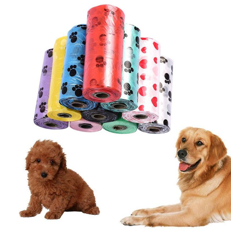 1 Roll 15pcs Pet Supply Printing Cat Dog Poop Bags Outdoor Clean Refill Random Dog Bag Color Pet Garbage P4G3