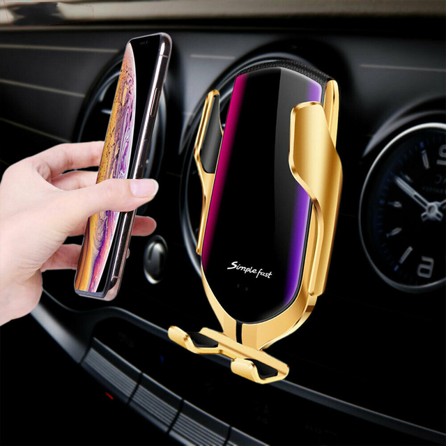 Automatic Clamping 10W Wireless Charger Car Phone Holder Smart Infrared Sensor Air Vent Mount Mobile Phone Stand Hold