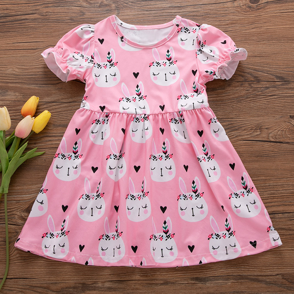 1-6Year Rabbit Dress For Girl Summer Clothes Short Sleeve Childrens Boutique Clothing Cartoon Print Kids Dresses For Girls Dress