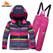 2019 Girls Ski Suit Jacket Pants Winter Kids Snowsuit Sets Warm Hooded Outdoor Waterproof Snowboard Sports Suits