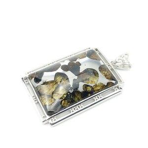 Image 4 - 本物の天然 Gibeon 鉄隕石モルダバイト女性男性ネックレス 38 × 25 ミリメートルシルバージュエリー葉彫刻宝石用原石のペンダント AAAAA