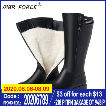 big size 44 hot winter warm snow boots fashion platform fur plush shoes low heels mid calf boots women down black red shoes MBR FORCE Wool Snow Boots Women Fur Warm Shoes Plush mid calf Boots New Fashion Zipper Warm Genuine Leather Women Winter Boots