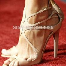 Gladiator Sandals Strappy Metallic Party-Shoes Lance Open-Toe High-Heels Gold Woman Buckle