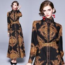 Banulin סתיו מסלול חורף ארוך שמלות 2020 נשים שרוול פנס בציר פרחוני הדפסה מקרית מקסי שמלת Robe לונג Femme ete